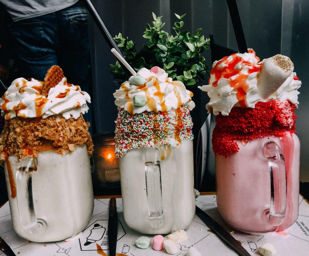 Three crazy milkshakes