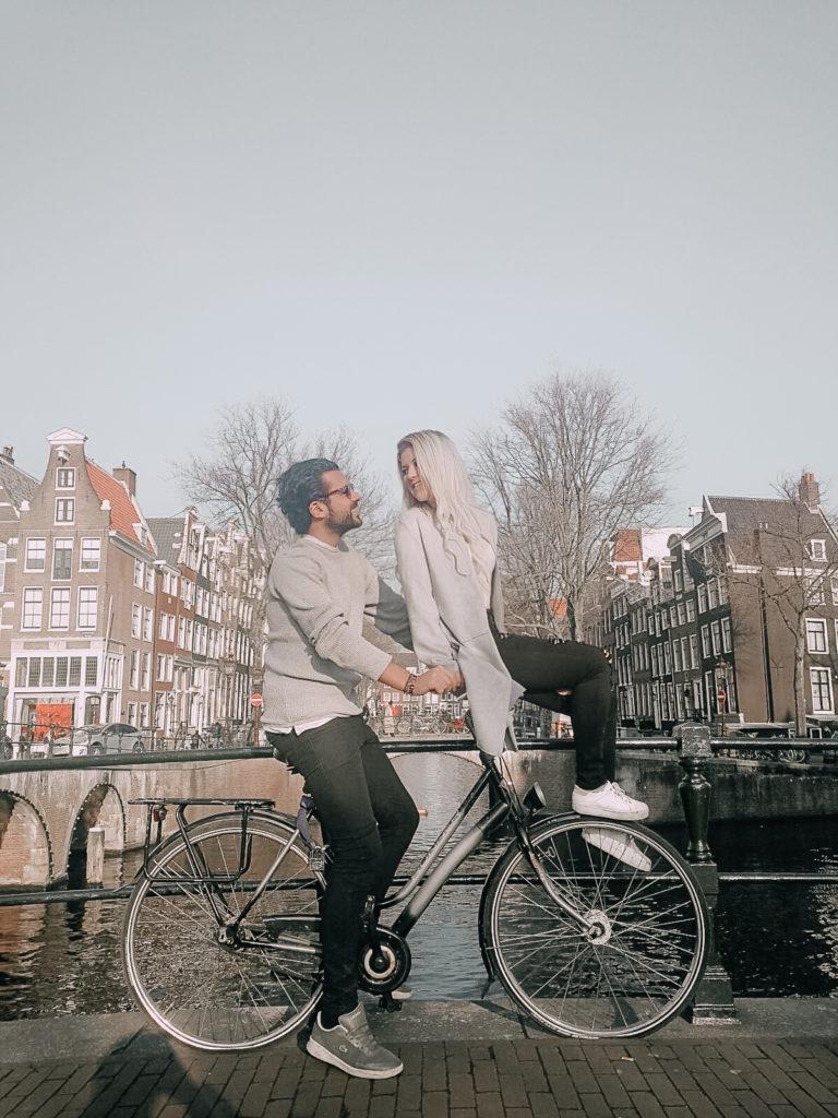 on a bike in amsterdam
