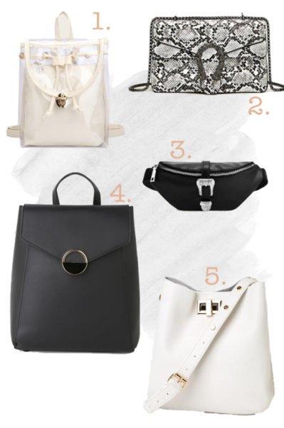 Clear backpack, snake skin bag, black bum bag, black back pack, white purse.
