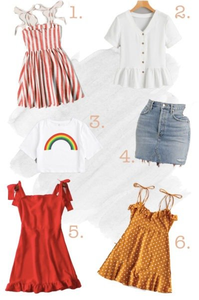 Stripped dress, white shirt, white shirt with rainbow on it, jean skirt, red dress, polka dot dress