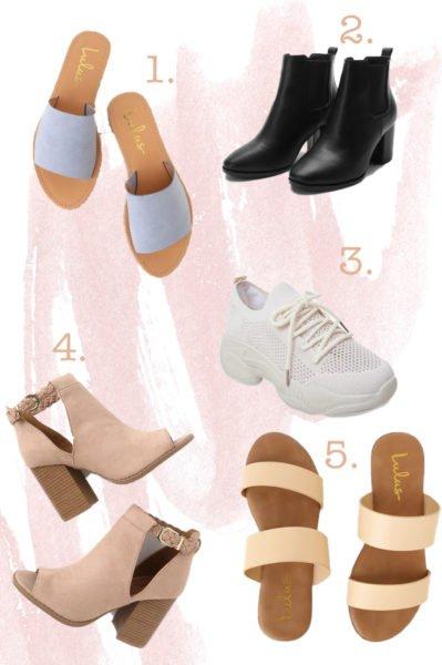Blue sandals, black booties, white runners, nude heels, nude sandals