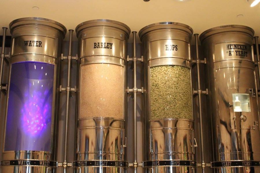 Ingredients that go into Heineken beer at the Heineken experience
