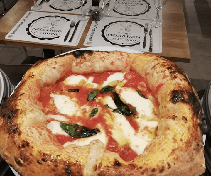 Small, round margarita pizza with huge fluffy crust