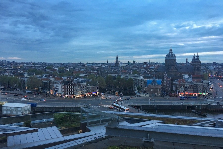 Rooftop view of Amsterdam from Skylounge