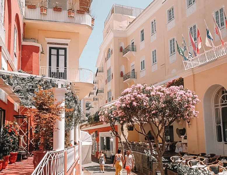 Orange and red buildings in Capri