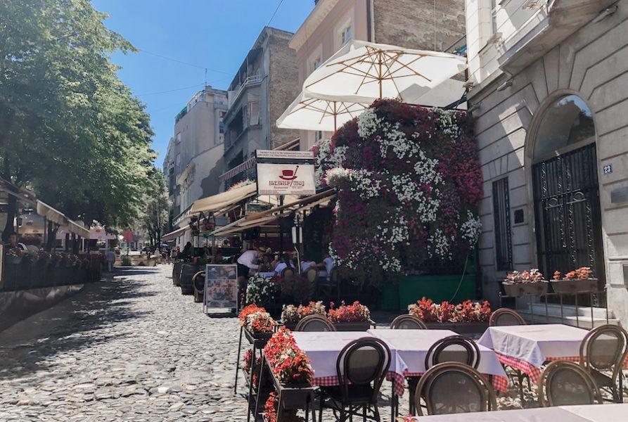 SKADARLIJA STREET filled with restaurants and flowers
