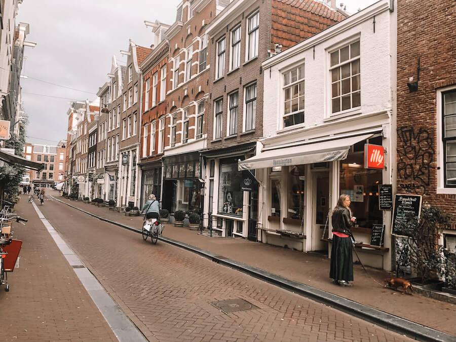 street in Amsterdam with buildings and stores along it