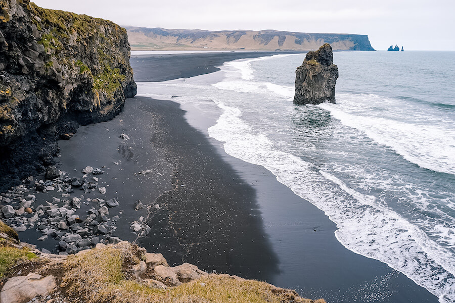 Side view of the black sand beaches in Iceland