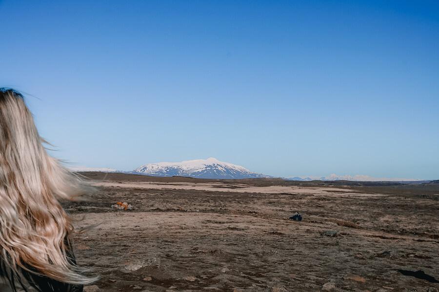 View of Eyjafjallajökull volcano across a barren landscape