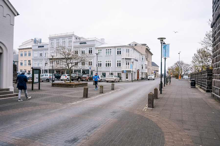 Light blue buildings in Reykjavik's downtown, the best place to being spending 3 days in Iceland