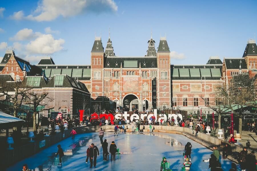 Skating rink in front of the Rijksmuseum