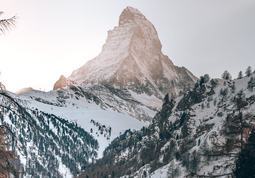 Toblerone pointed mountain covered in snow