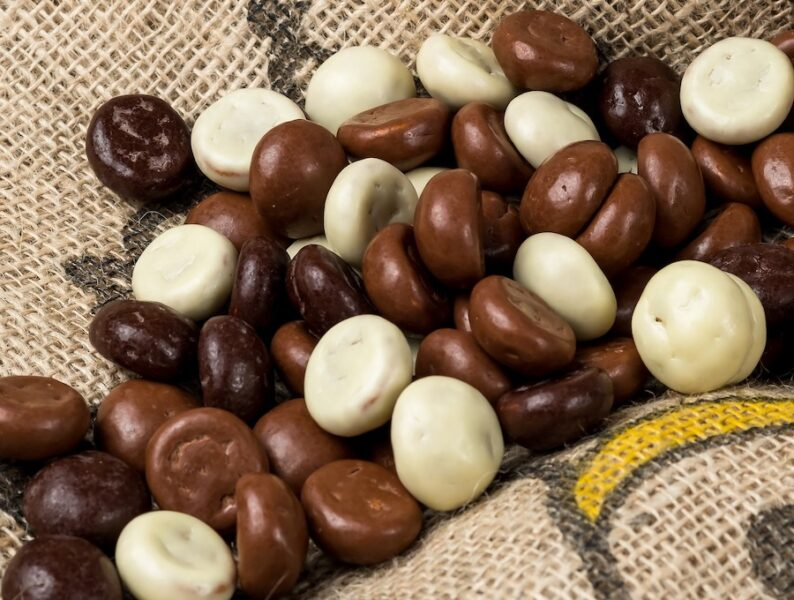 White and brown chocolate candies