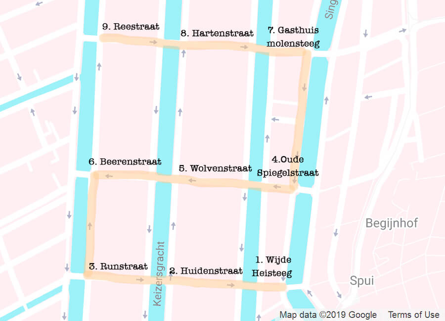 Map of the 9 streets in Amsterdam