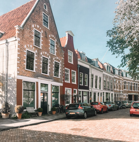 Row of colorful small dutch houses
