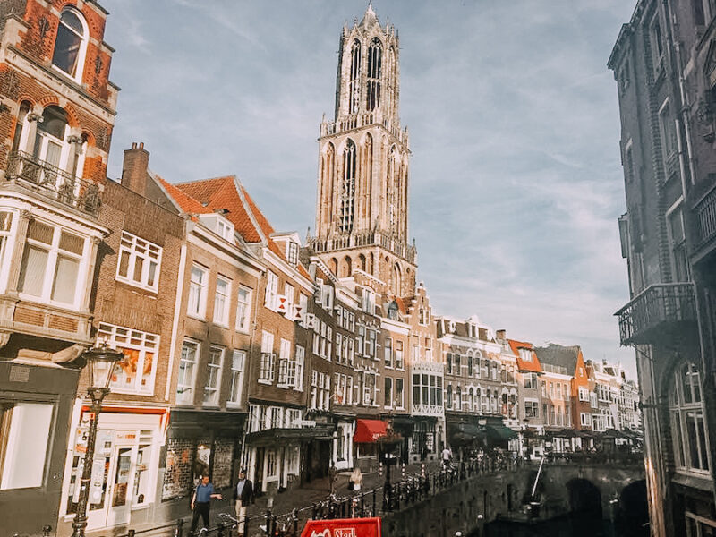Large tower reaching into the hair with dutch houses in front of it