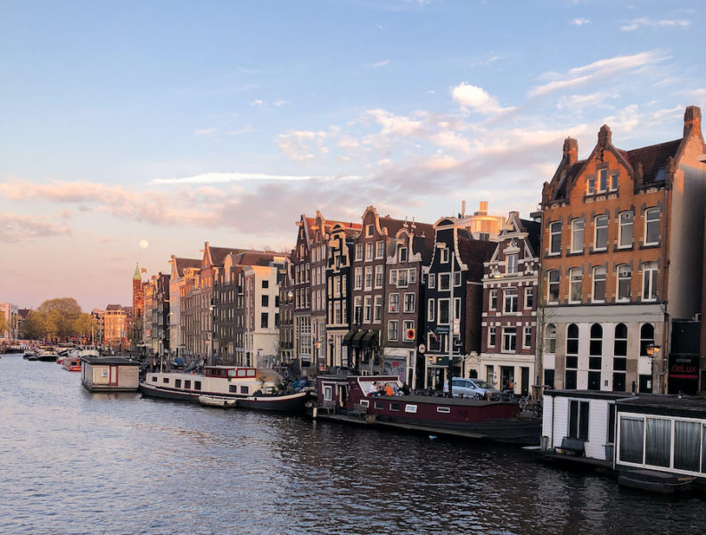 Houses along a canal in Amsterdam