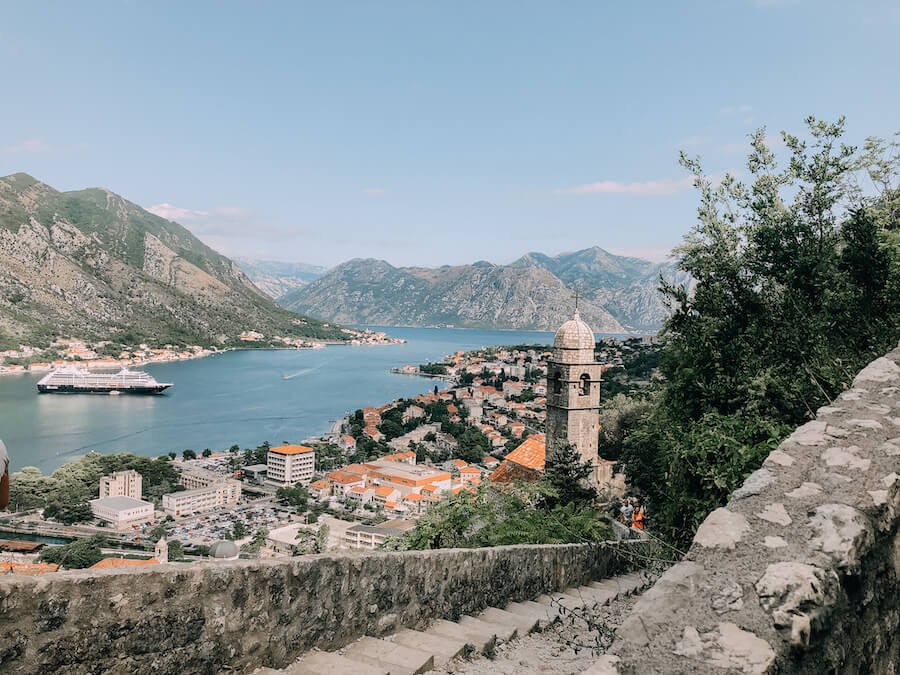 View from the hike in Kotor of the Old Town and the Bay of Kotor