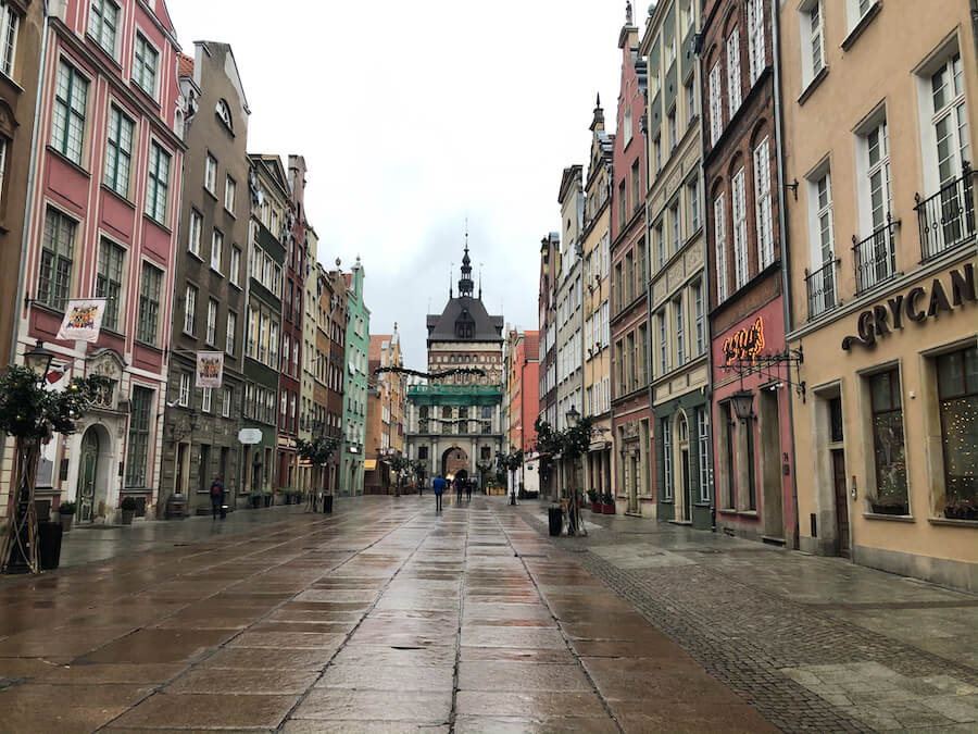 Empty street in Gdansk lined with colourful streets
