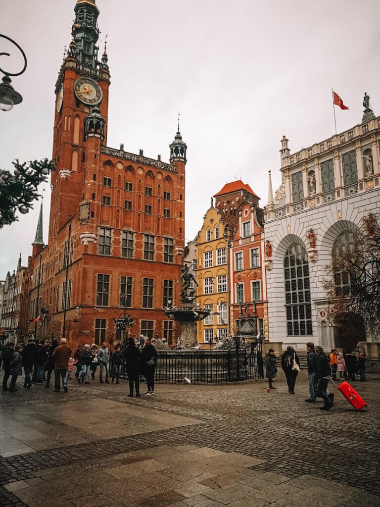 Towering red brick city hall