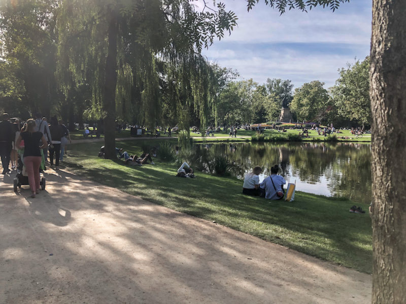 People sitting on the grass at Vondelpark