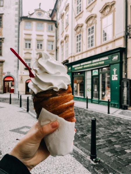 Chimney cake with icecream in Prague