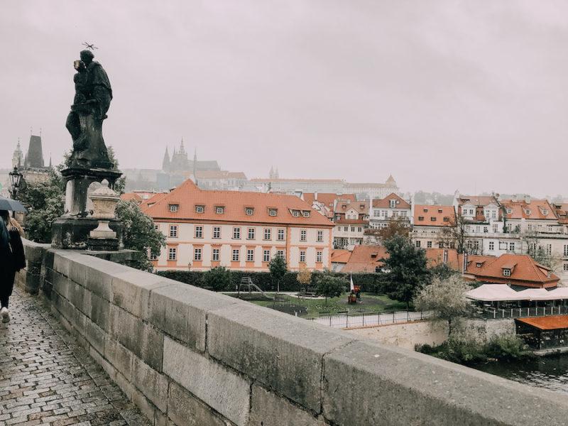 Charles bridge and the city of Prague along the bank