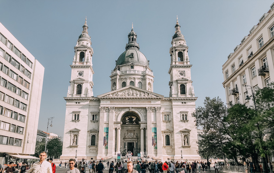 White vast church in Budapest