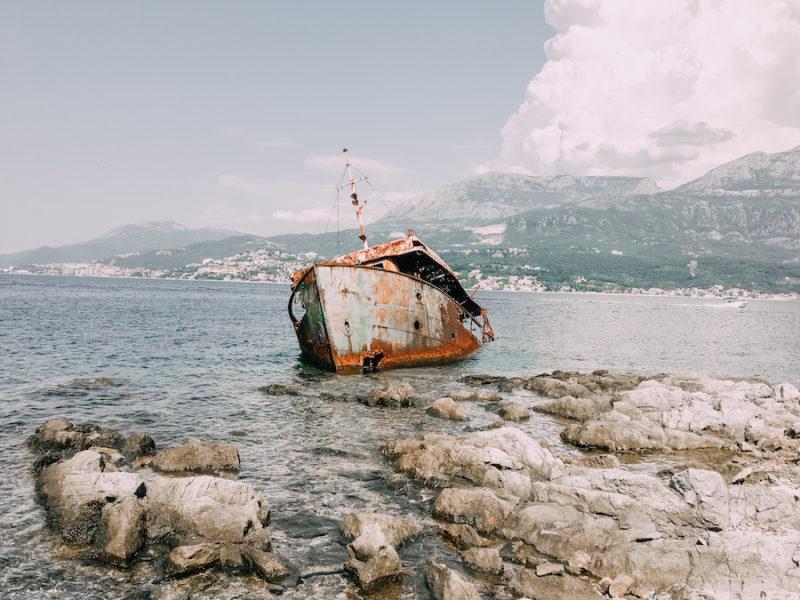 Sunken ship in the water