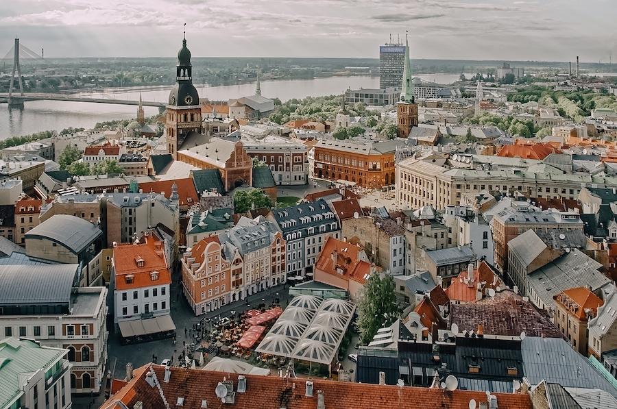 Birds eye view of Riga, Latvia