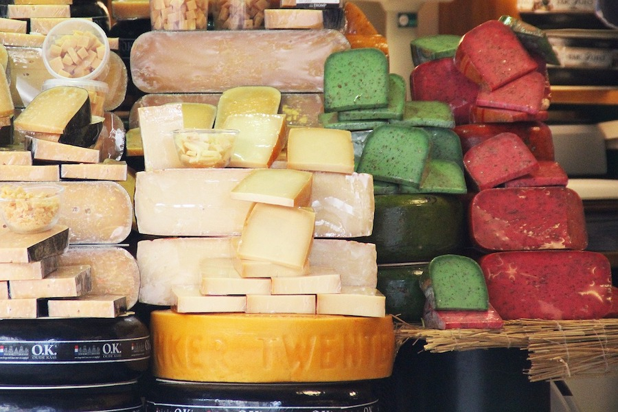 Stacks of Dutch cheese