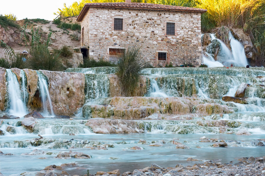 Blue hued waterfalls in Saturnia