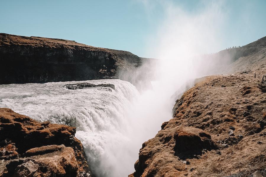 Water pouring down Gullfoss Waterfall