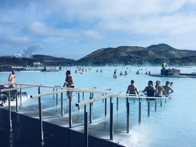 People swimming in the Blue Lagoon in Iceland in April