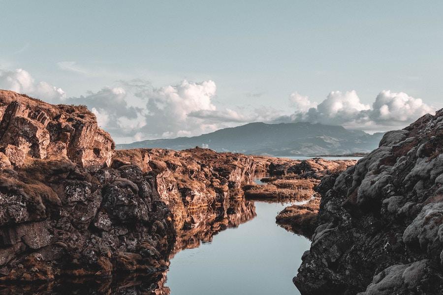 Tectonic plate rift in Thingvellir National Park