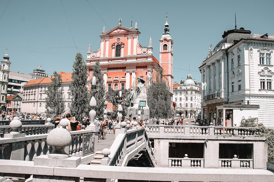 Pink and white buildings in Ljubljana, Slovenia