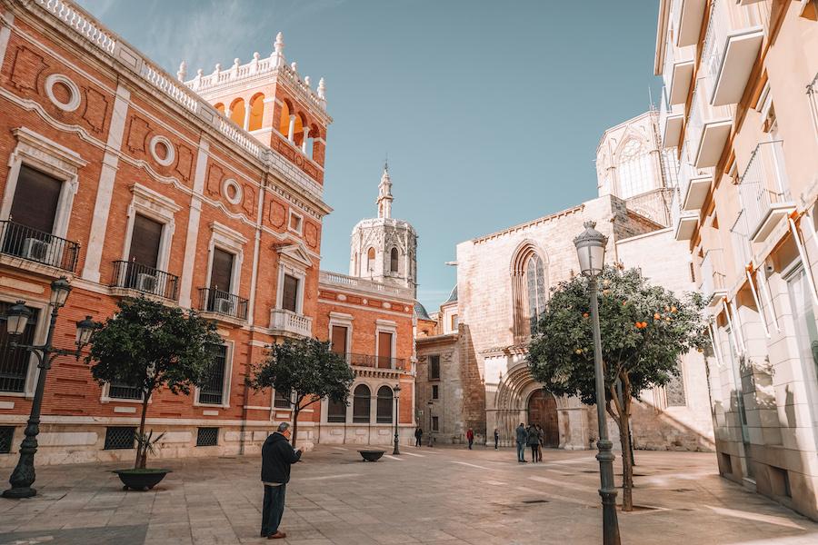 Orange building in the streets of Valencia