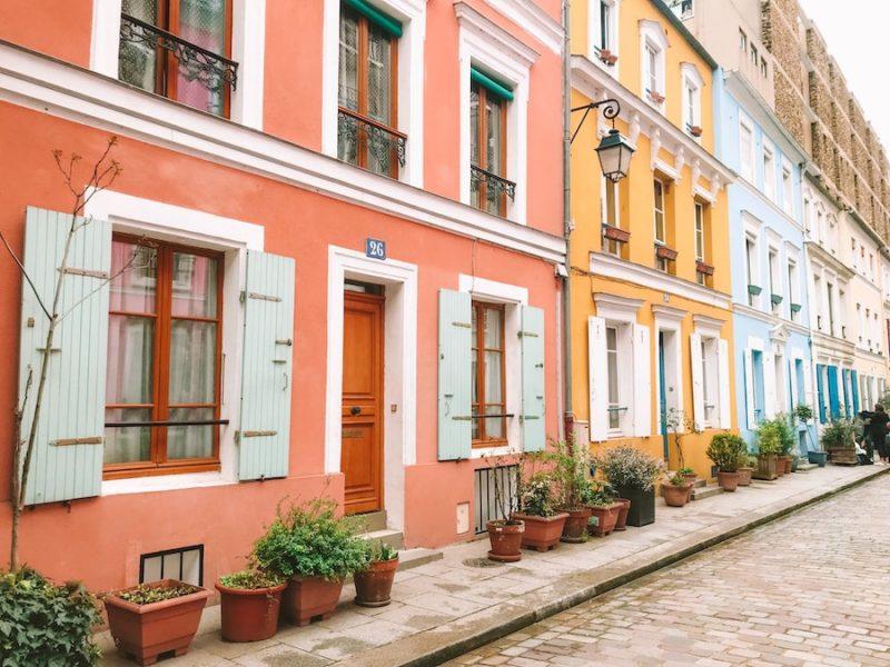 Colorful buildings on Rue Crémieux - weekend in Paris