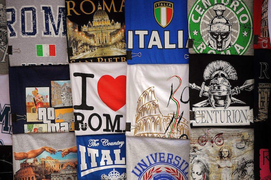 Clothing from Rome with country dedicated words and images