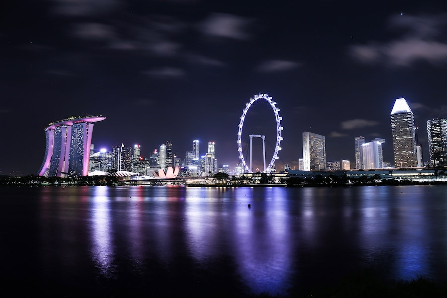 View of the Singapore flyer in Singapore at night