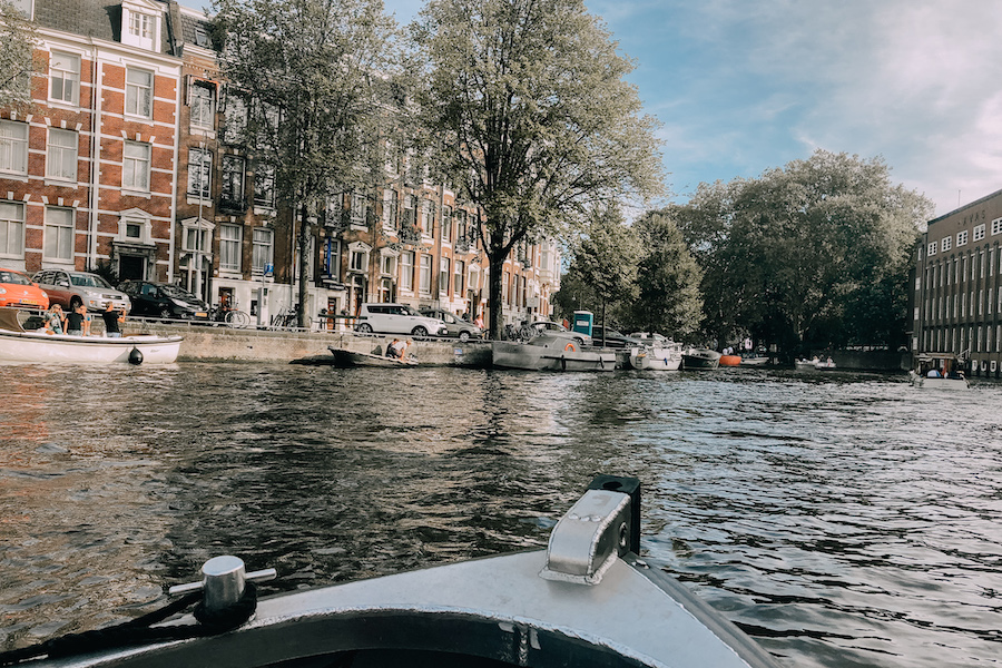 Boat in the canals of Amsterdam
