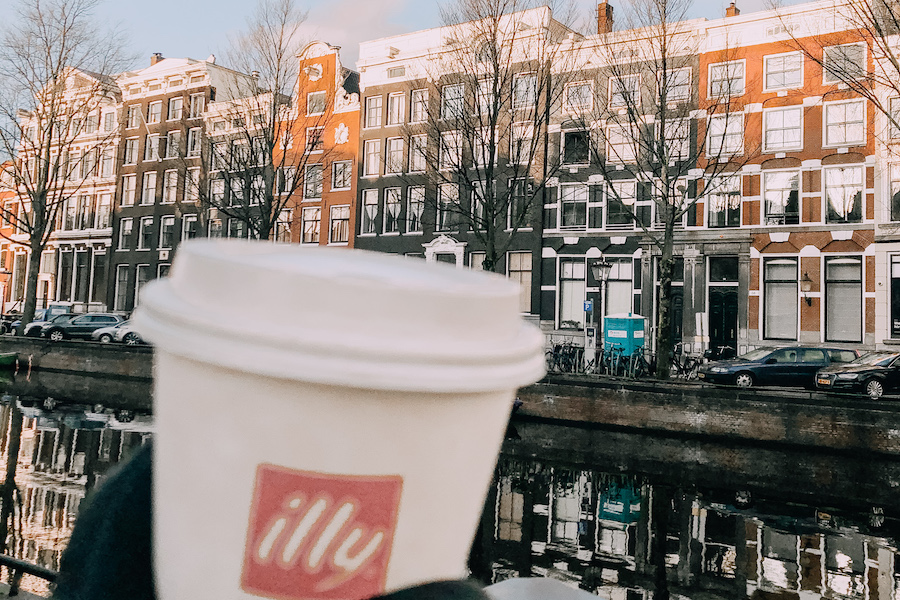 Coffee in front of the canals in Amsterdam