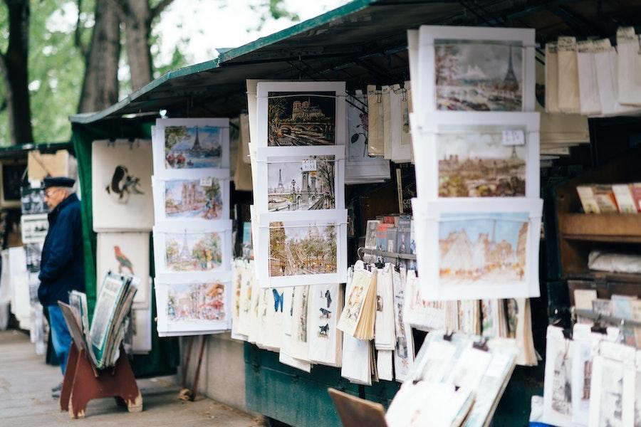 Artwork in stands in Paris