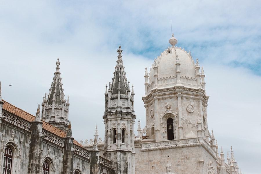 Jerónimos Monastery white building tops