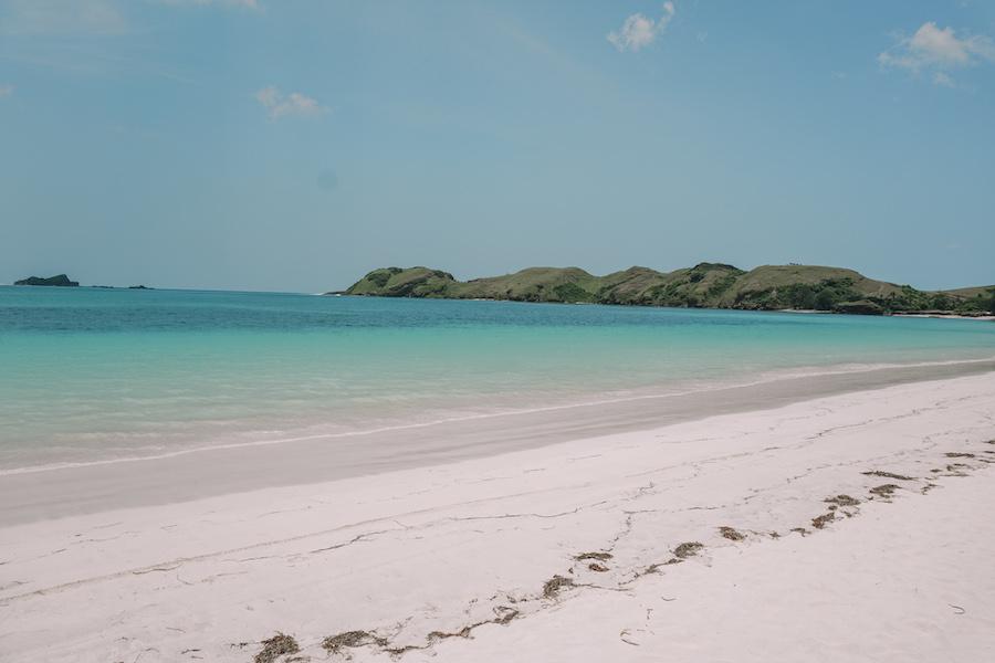 Beautiful blue water beach Tanjung Aan