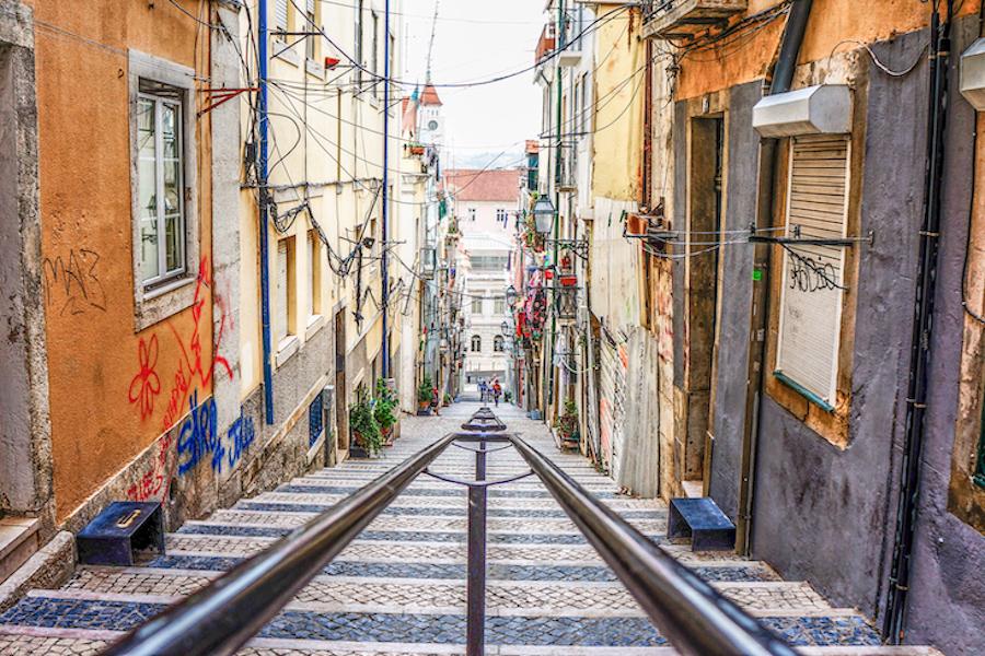 Narrow streets in Bairro Alto