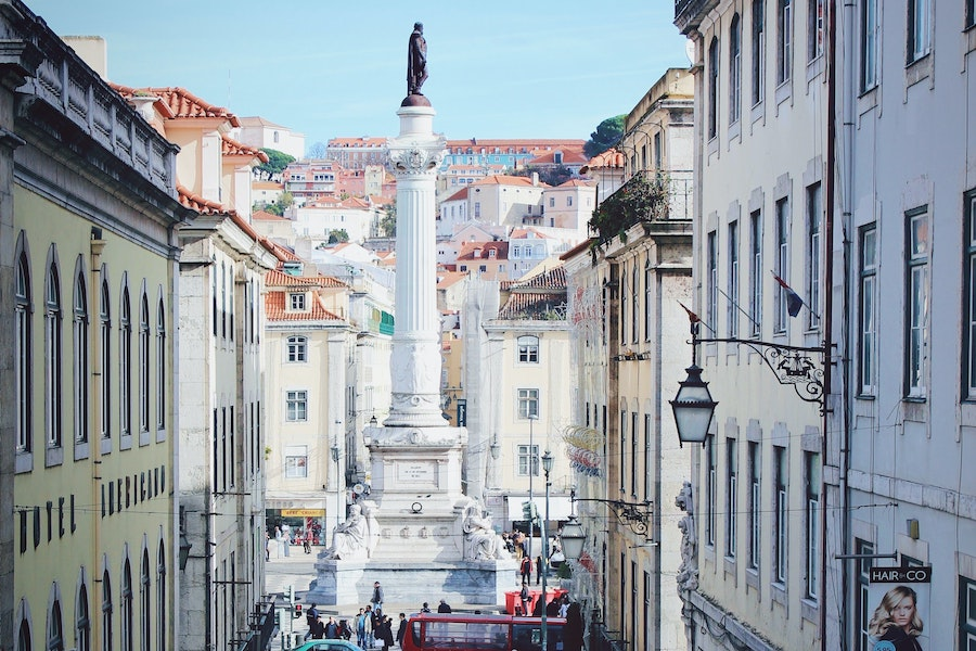 Statue in the middle of Rossio Square