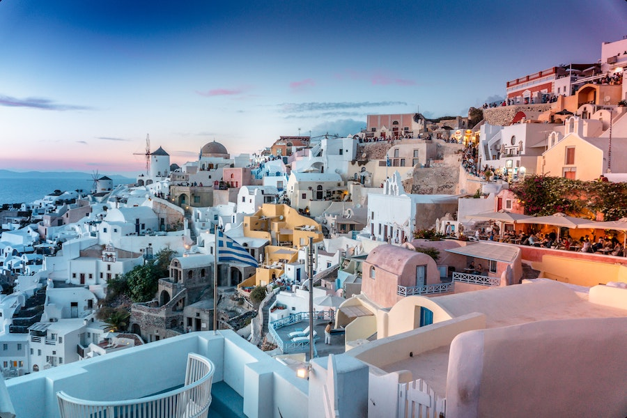 White and blue coloured houses in Santorini one of the most beautiful places in Europe
