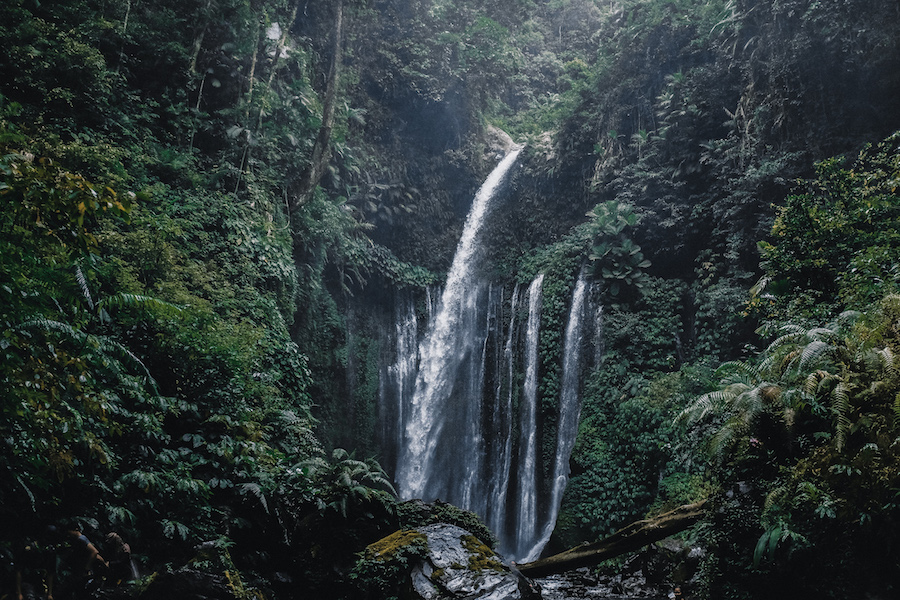 Huge waterfall with multiple fallls in Lombok