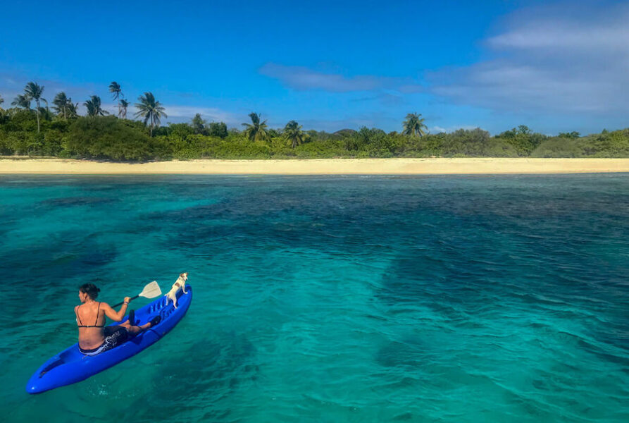 Kayaking on the open blue ocean
